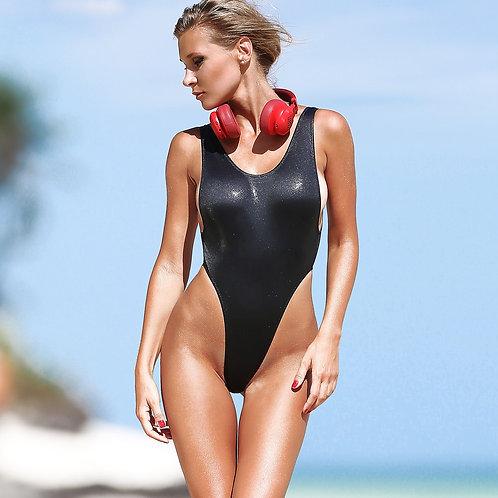 sexy black one piece swimsuit bodysuit sport monokini thongs high cut leg waist open back fashion womens swimwear 2018 2019