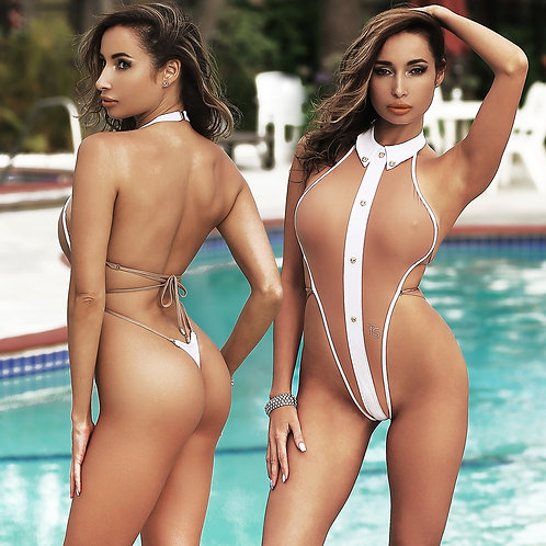 Hot white beautiful fashion dexigns exotic one piece swimsuit monokini thong Open back High neck women's swimwear 2018 2019