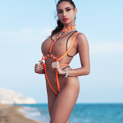 Most fashion hot sexy designer extreme swimwear fetish continuous thong transparent, harness