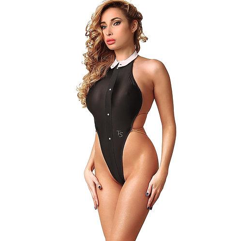 Hot black beautiful fashion designs exotic one piece swimsuit monokini thong Open back High neck women's swimwear 2021