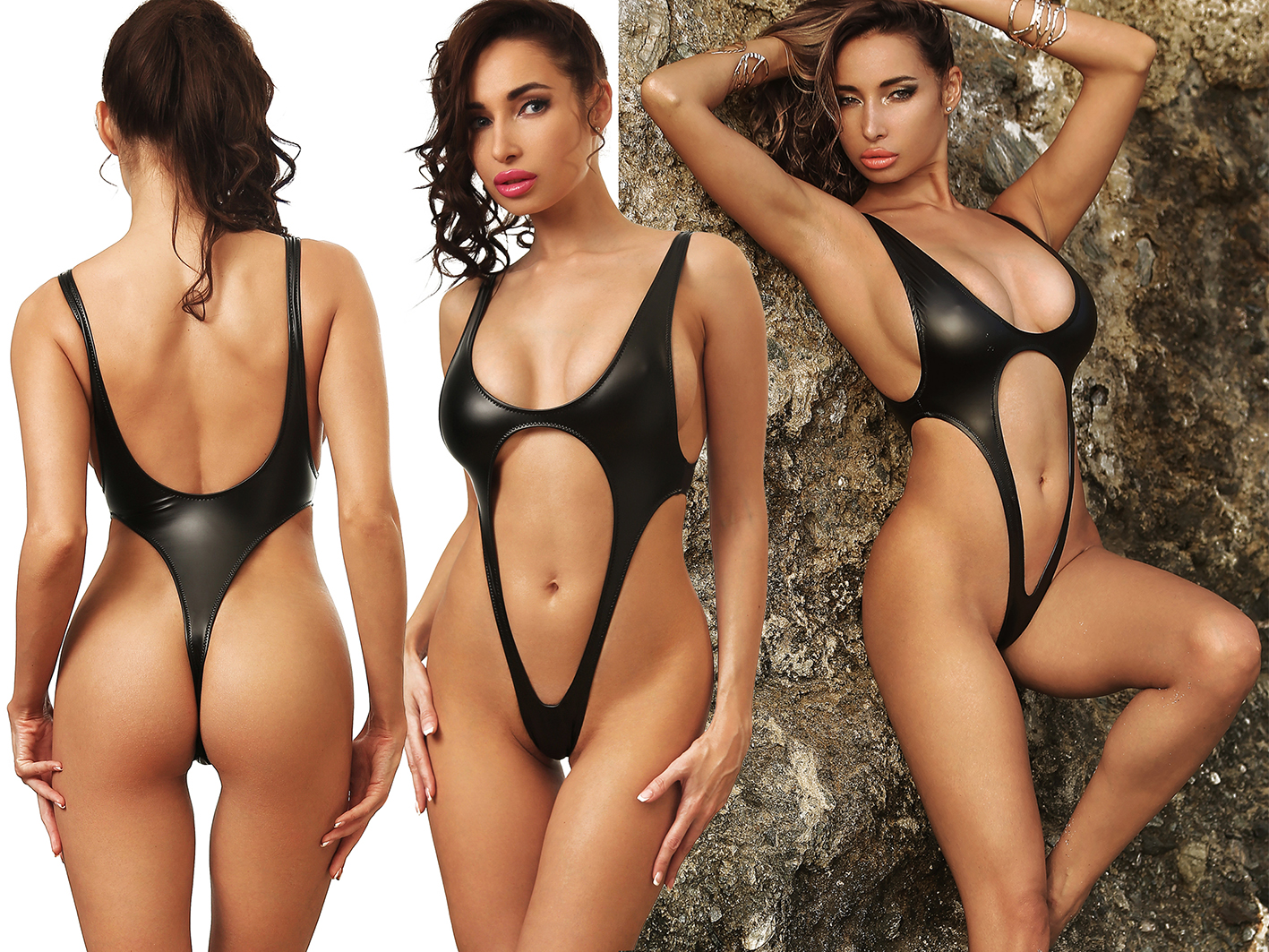 latex black one piece swimsuit extreme exotik thong low open back monokini high cut waist leg