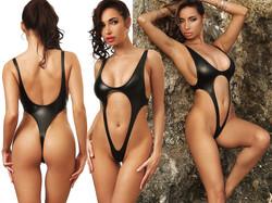 latex black one piece swimsuit extreme exotik thong low open back monokini high cut waist leg