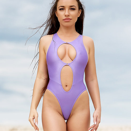 Sexy high waisted bathing suit One piece brazilian high neck swimsuit Cute purple cut leg monokini Hot erotic Women swimwear