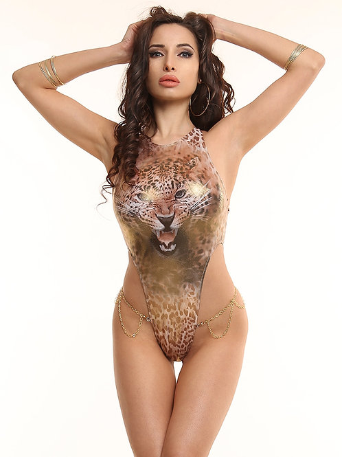 Fashion one piece swimsuit monokini Ultra high cut leg Animal print Leopard