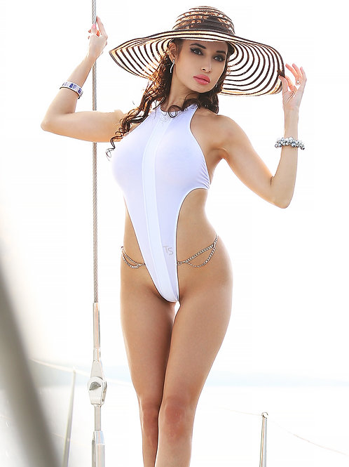 Touch Secret, Flower, Elegant, White, sexy thong, one piece swimsuit