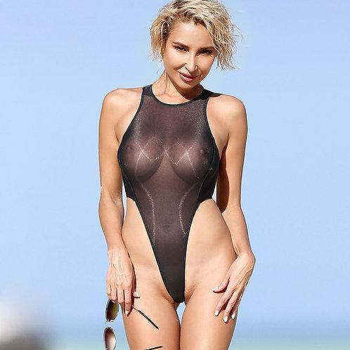 Sexy one piece high neck thong swimsuit See through   black  extreme leg monokini  Sheer bodysuit Erotic lingerie swmwear