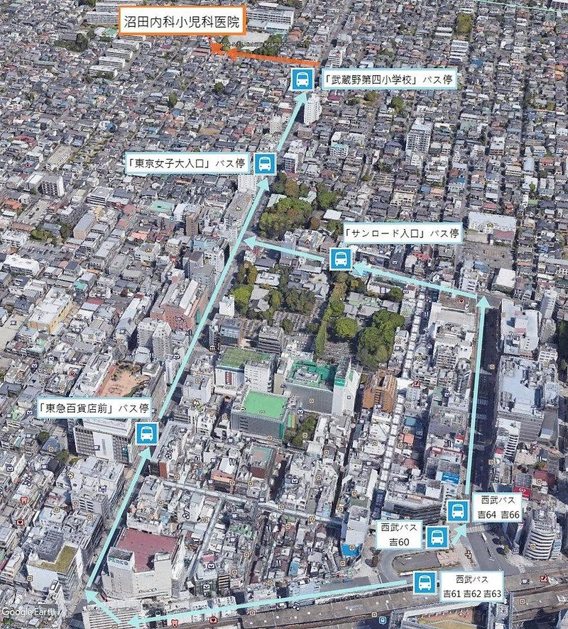 西武バス系統番号と路線地図 | 沼田内科小児科医院