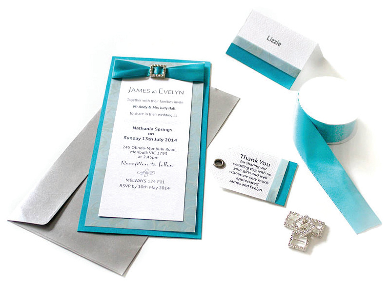 Blue Ribbon Wedding Invitation