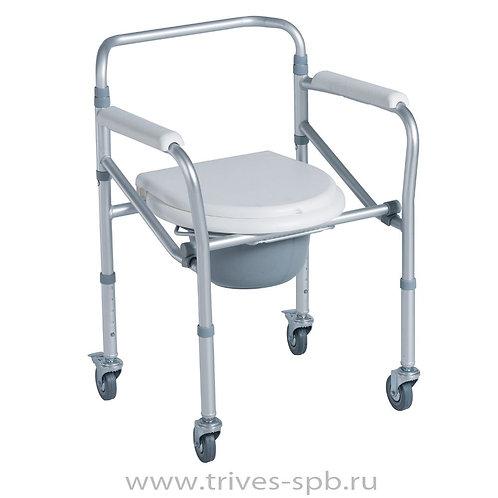 Кресло-туалет на четырех колесах складное CA615