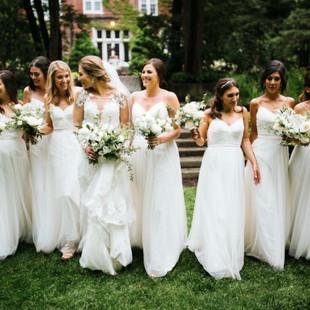 Aquinas Michigan wedding day hair and makeup glamorous bridal party