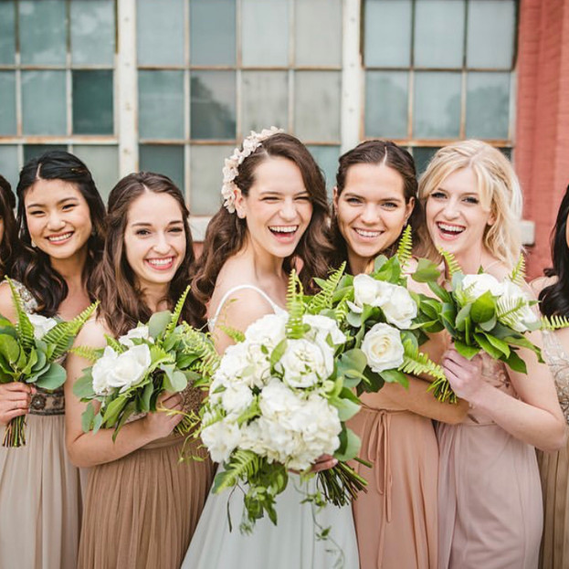 The Cheney Place bride and bridal party hair and makeup