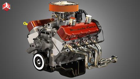V8 Vintage Muscle Car Engine