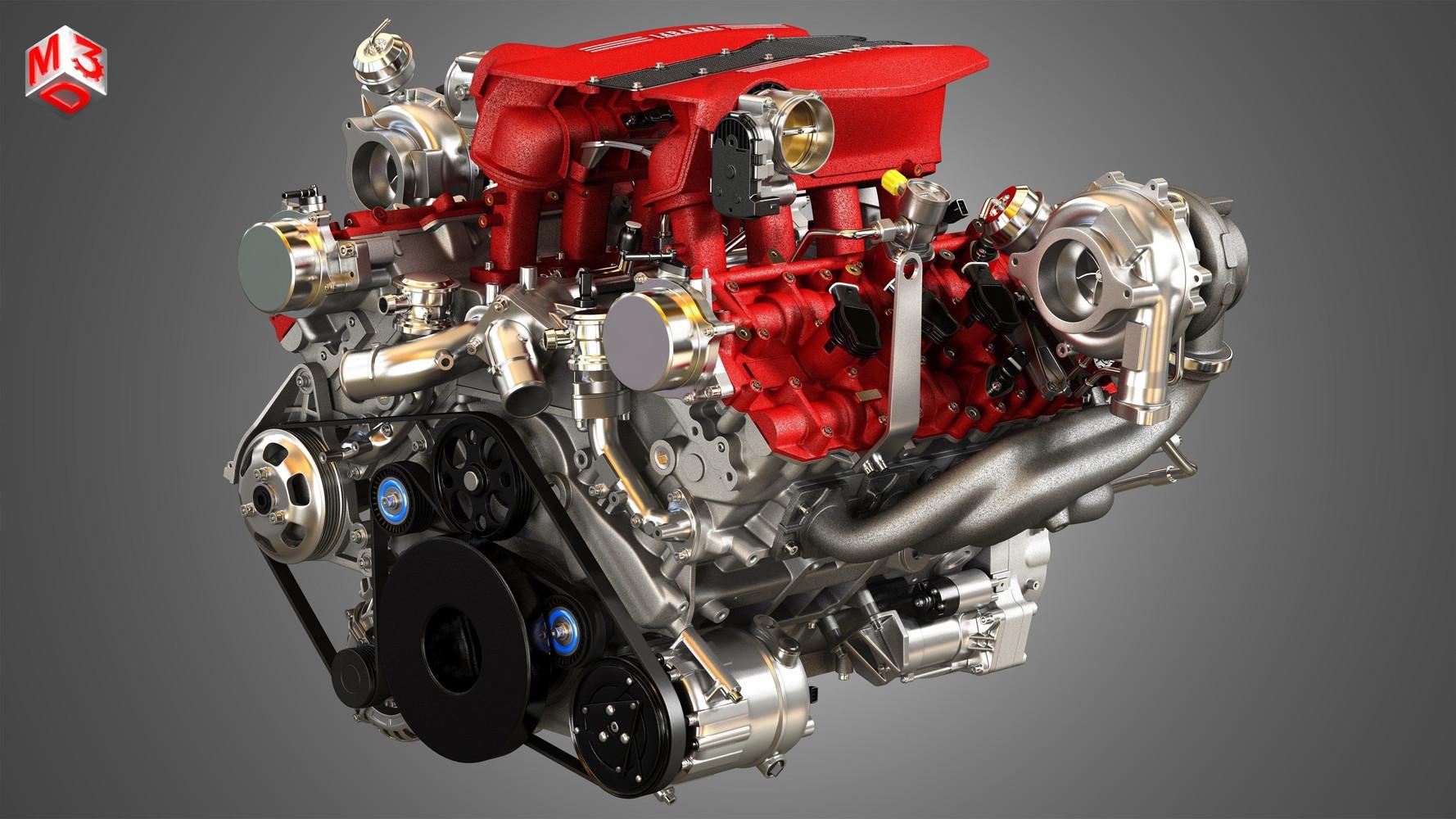 488 GTB V8 Car Engine .