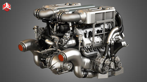 W16 Engine with 4 Turbochargers