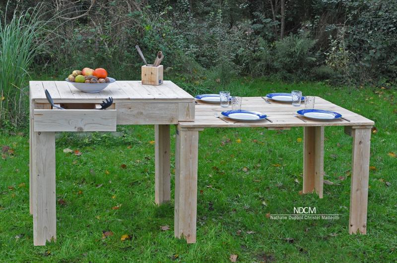 Table en bois avec plan de travail