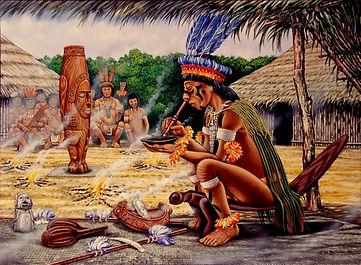 Taino native smoking tobacco