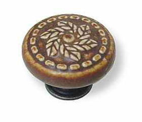 Antique Pewter Base Umber Spiraling Leaves Knob - 1-3/8""