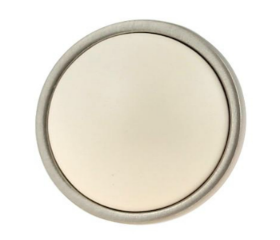 """Ceramic Betsy Fields Bisque & Brushed Pewter Knob - 1 3/8"""""""