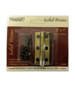 "Antique Brass Pair of Solid Brass Narrow butt Hinge - 2"" X 1"""