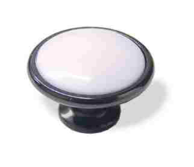 "Black Chrome Knob White Ceramic 1-1/4"""