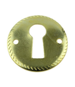 Brass Plated w/ Rope Edge Round Escutcheon Plate