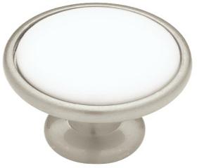 "Satin Nickel & White Ceramic Knob 1 3/16"""