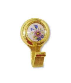 "Bright Brass w/ Ceramic Amerock Coat Hook - 1 5/16"""
