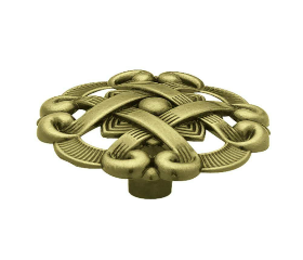 """Antique Brass Weave Pattern Cabinet Knob 1 1/2"""""""