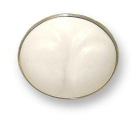 "White Ceramic Wings Insert With Chrome Base Knob - 1 7/16"""