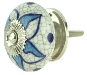 "Ceramic Cracked w/ Blue Flower Design Knob - 1 1/2"""