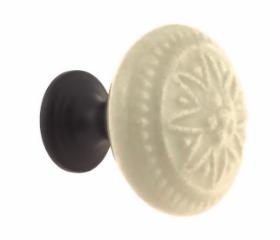 "Ceramic Bavarian Cream on Oil Bronze Base Knob - 1 3/8"""