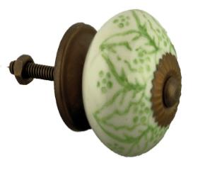 Ceramic White w/ Green Leaves Knob