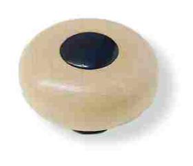 """Whitewashed Wood Black Button Center & Base Knob -1-3/8"""""""