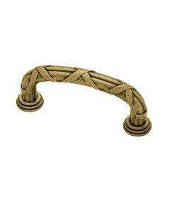 Tumbled Antique Brass Ribbon & Reed Pull - 3""