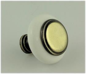 "Antique brass / white ceramic knob - 1-1/4"""