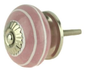 """Ceramic Pink w/ White Rings Knob  - 1 1/2"""""""