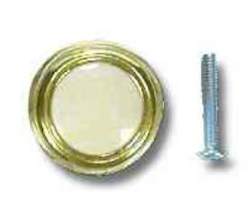"Brass Plated Almond Plastic Center Knob 1-1/4"""
