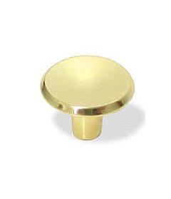 "Bright Brass Mid Century Modern Concave Knob - 1"""