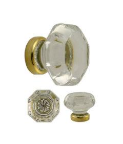 Brass Octagonal Clear Glass Knob