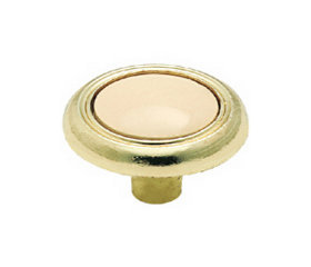 "10 Pak Polished Brass With Almond Ceramic Center Knob - 1-1/4"""