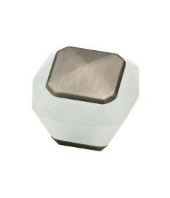 "Translucent White & Brushed Stainless Steel Knob 1 3/8"""