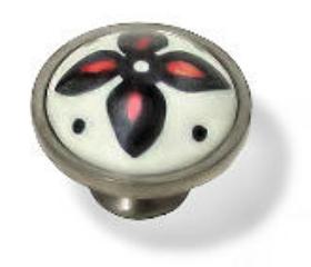 "Satin Nickel Base With A Ceramic Center Knob - 1 1/4"""