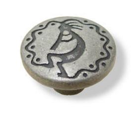 "Antique Silver Modern Southwestern Knob 1"""