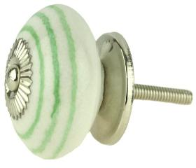 """Ceramic Green Stripes White Knob - 1 1/2"""""""