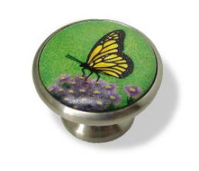 "Satin Nickel Base Ceramic Butterfly Knob - 1 11/16"""