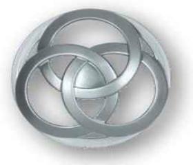 """Satin Nickel Interlocking Circles Knob 1 1/2"""""""