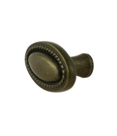 Antique Brass Oval Beaded Knob - 1 1/4""