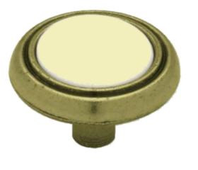 "Almond ceramic and Antique brass Knob 1-1/4"" L-P50081-ABA-A"