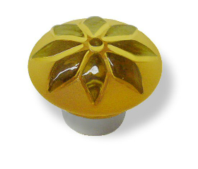 "Glass Betsy Fields Amber Flower Knob 1 3/8"""