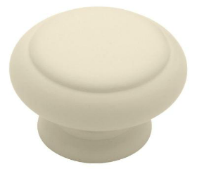Painted Ivory Color Wooden Knob - 1-1/2""